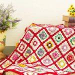 Цветочный плед из бабушкиных квадратов