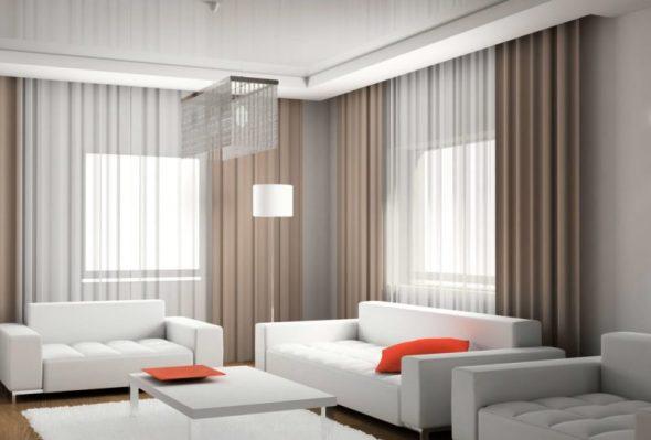 Шторы для угловой гостиной в современном стиле