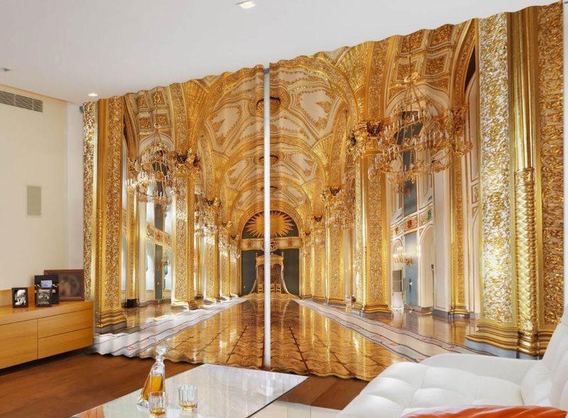 Интерьер царского дворца на фотошторе в гостиной
