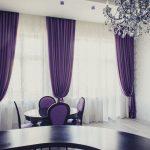 Фиолетовые шторы на два окна для столовой
