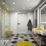 Круглый коврик на полу в ванной комнате