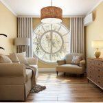 Гостиная с большим круглым окном