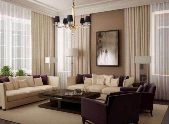 Гостиная на два окна в стиле модерн
