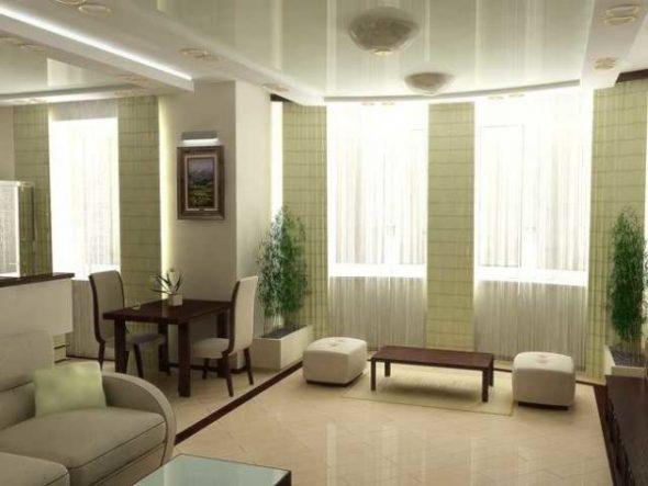 Кухня-гостиная на два окна в стиле минимализм