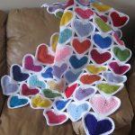 Наборной плед из разноцветных сердечек