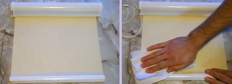 Удаления пятен с рулонной шторы мягкой салфеткой