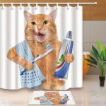 Шторка с прикольным рисунком для ванной