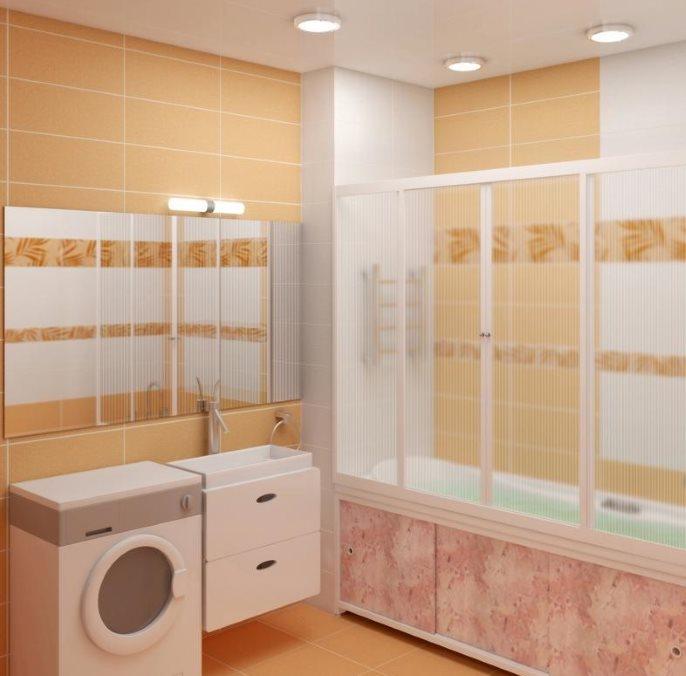 Пластиковая шторка-купе в современной ванной