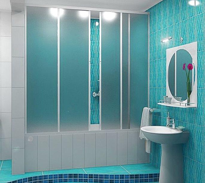 Раздвижная перегородка из пластика в модной ванной