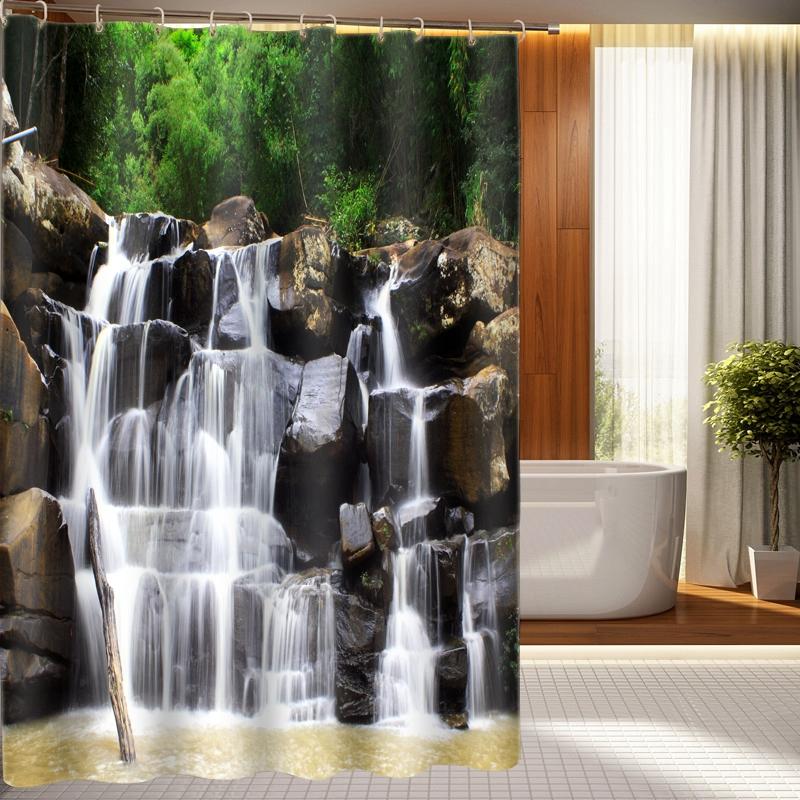 Шторка с водопадом в ванной комнате
