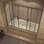 Дизайн встроенной ванны с защитной перегородкой