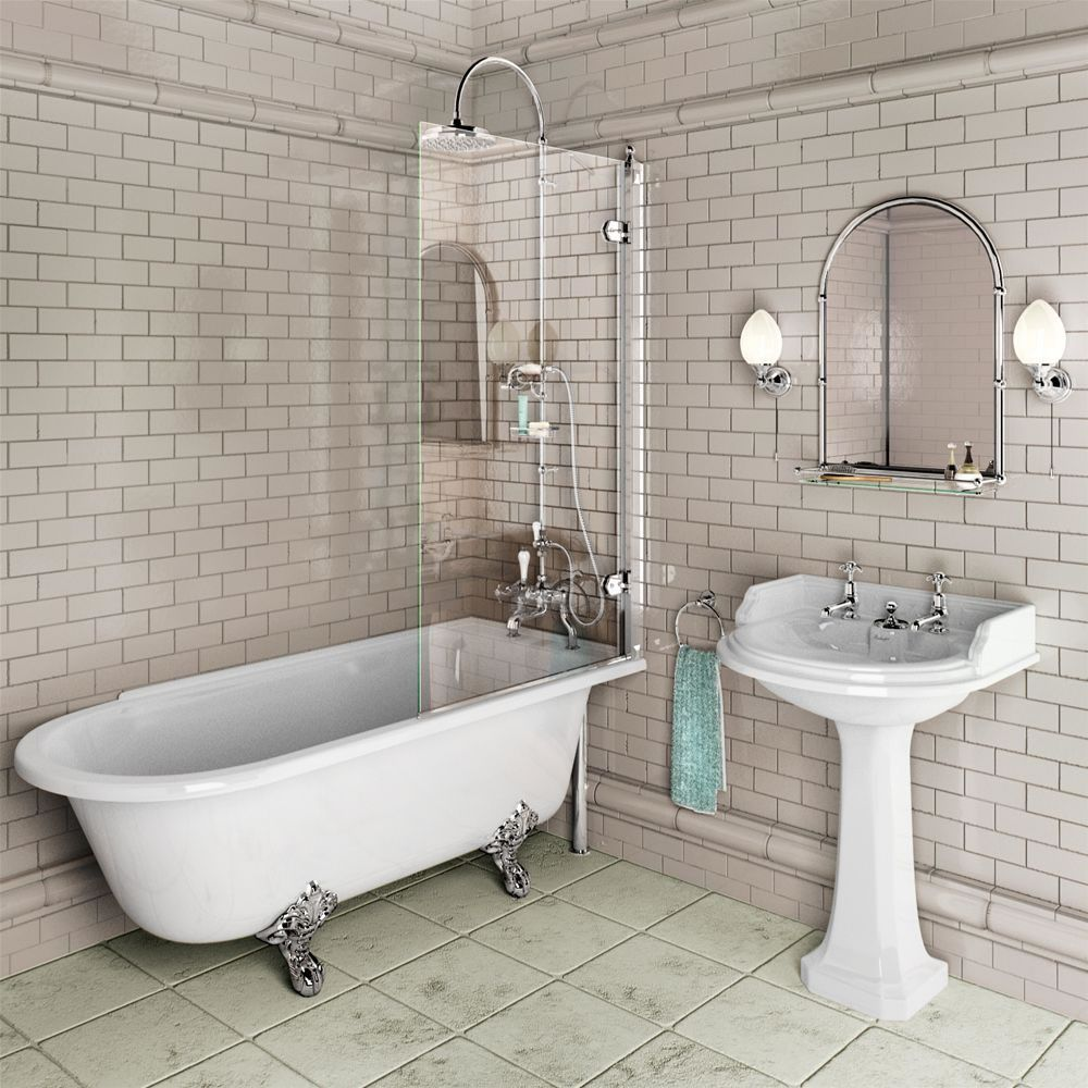 Интерьер ванной комнаты с перегородкой из закаленного стекла