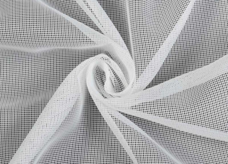 Белое полотно-сеточка тюля из полиэстера