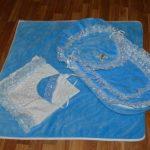 Велюровый голубой комплект на выписку и прогулки