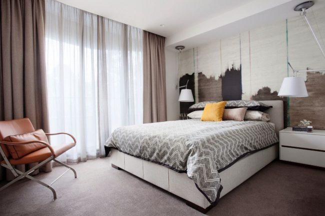 занавески в спальню длина фото