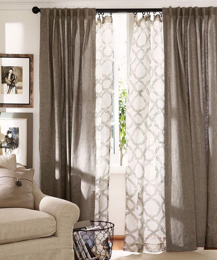 Белый тюль с вышивкой на окне в гостиной