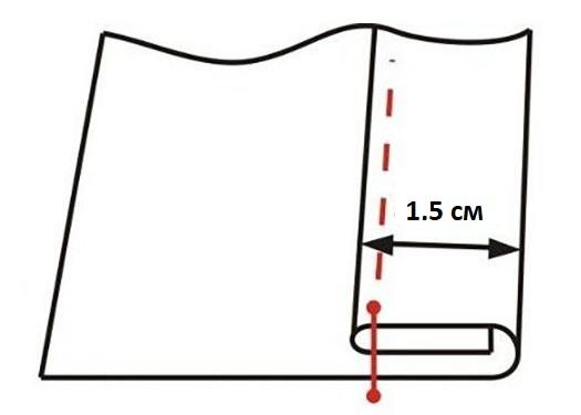 Схема создания бокового шва на занавеске из тюля