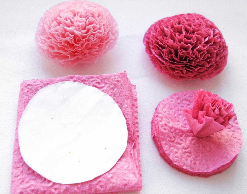 цветы из бумажных салфеток идеи оформление