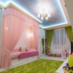 Розовый балдахин над кроватью девочки