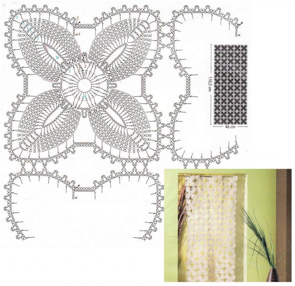 Схема вязания длинной занавески в спальню