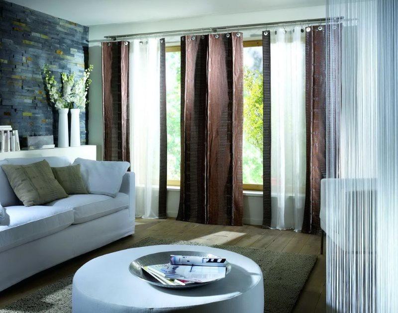 Гостиная в стиле модерн с двойными шторами