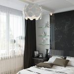 Комбинация белого тюля с черными портьерами в спальне