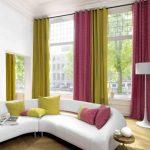 Разноцветные занавеси на высоких окнах