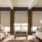 Прямые шторы оливкового цвета и рулонные изделия