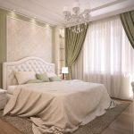 Белый тюль в интерьере спальни