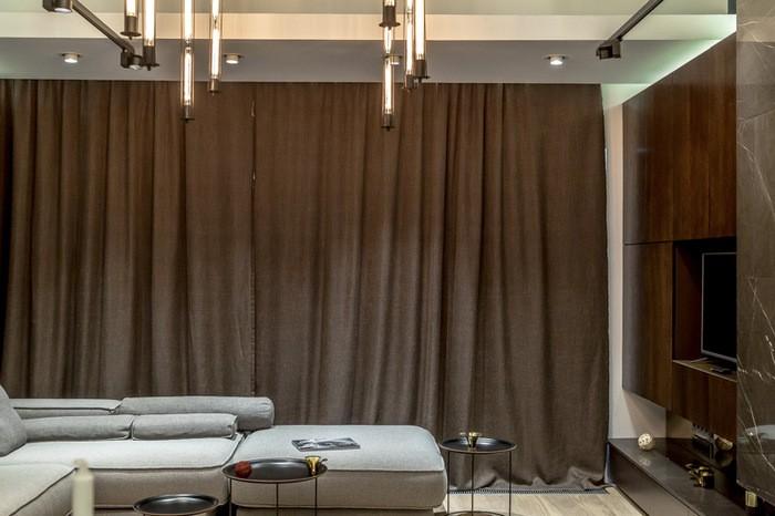 шторы из рогожки в гостиной