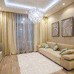 Прямой диван в гостиной современного стиля