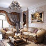 Двойные портьеры в классическом стиле