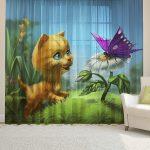 Уникальный принт на полотне детской шторы