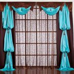Комбинированные коричнево-голубые шторы