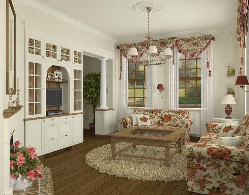 Интерьер небольшой гостиной в стиле прованса