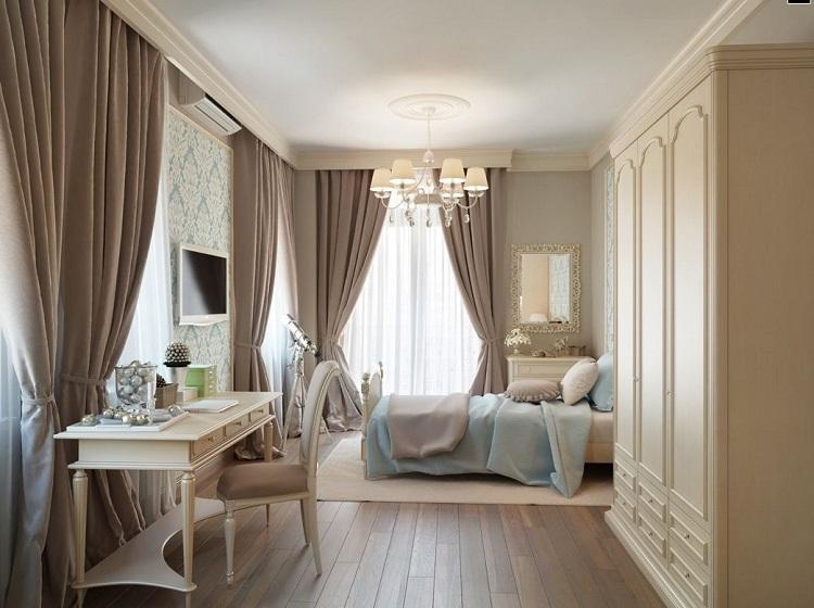 шторы в спальню из рогожки