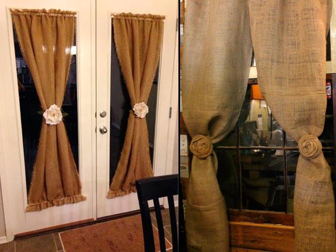 мешковина шторы на дверь
