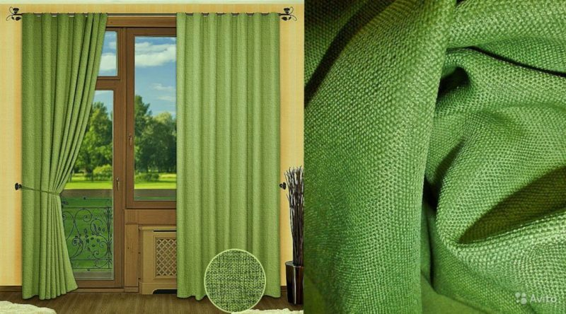 мешковина шторы зеленые