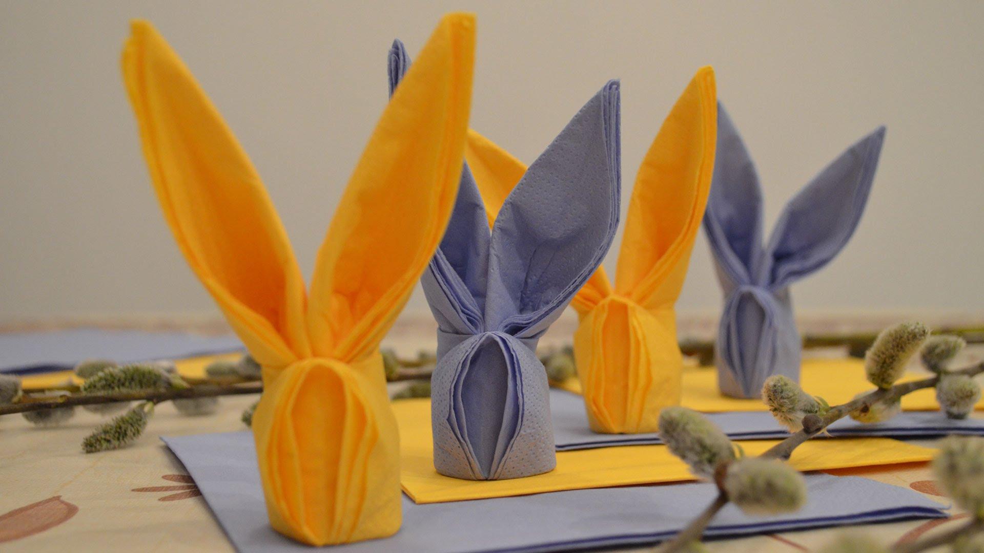 оформление стола салфетками зайцами