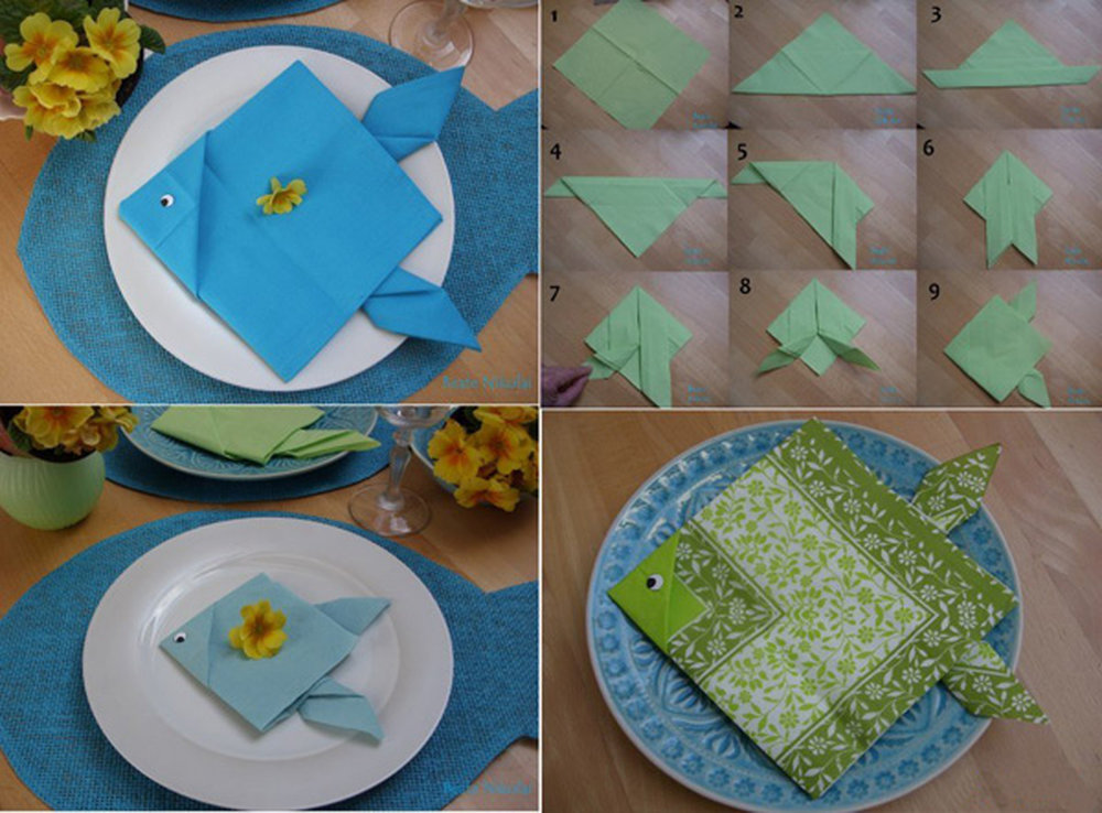 оригами из салфеток рыбка