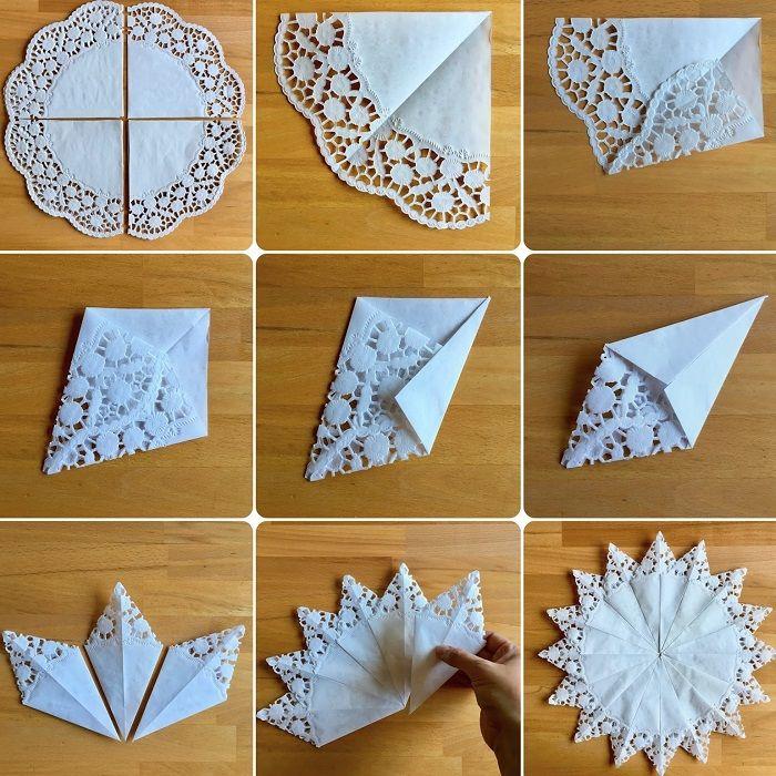 оригами из салфеток снежинка