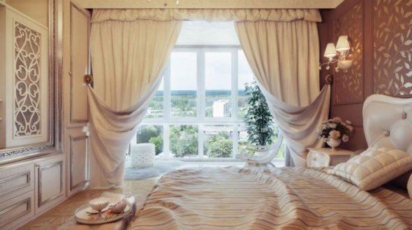 Шторы с подхватом в спальне