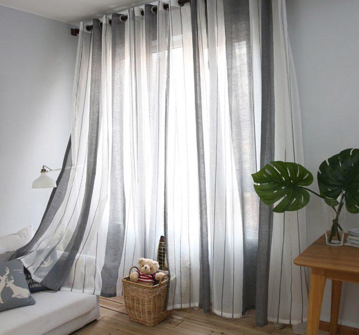 Серо-белые занавески из льняной ткани