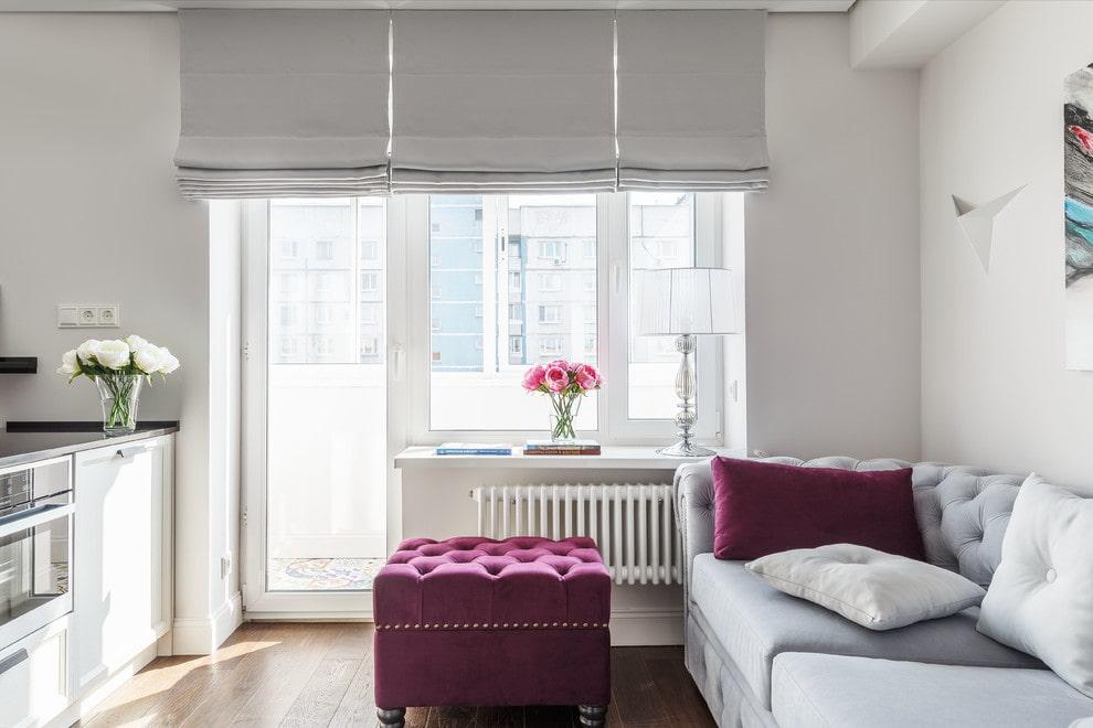 Серые римские шторы для защиты комната от солнца
