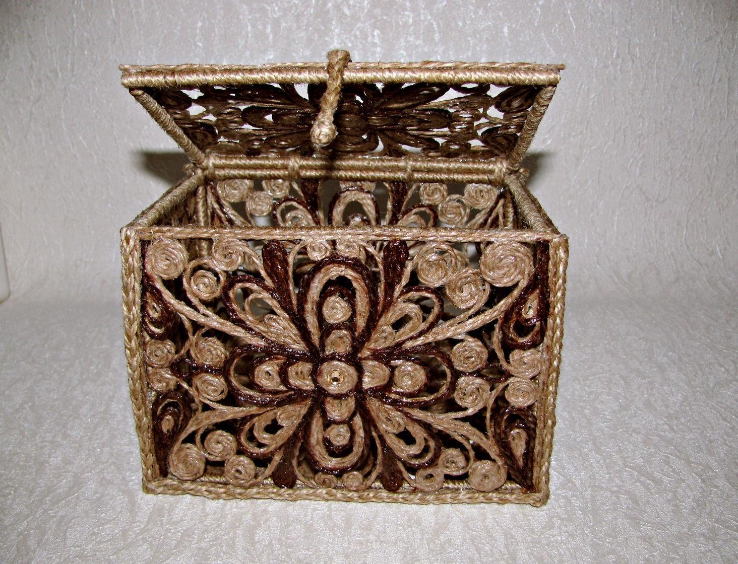 шкатулка из джута своими руками фото дизайна
