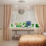 короткие шторы до подоконника в спальню дизайн фото