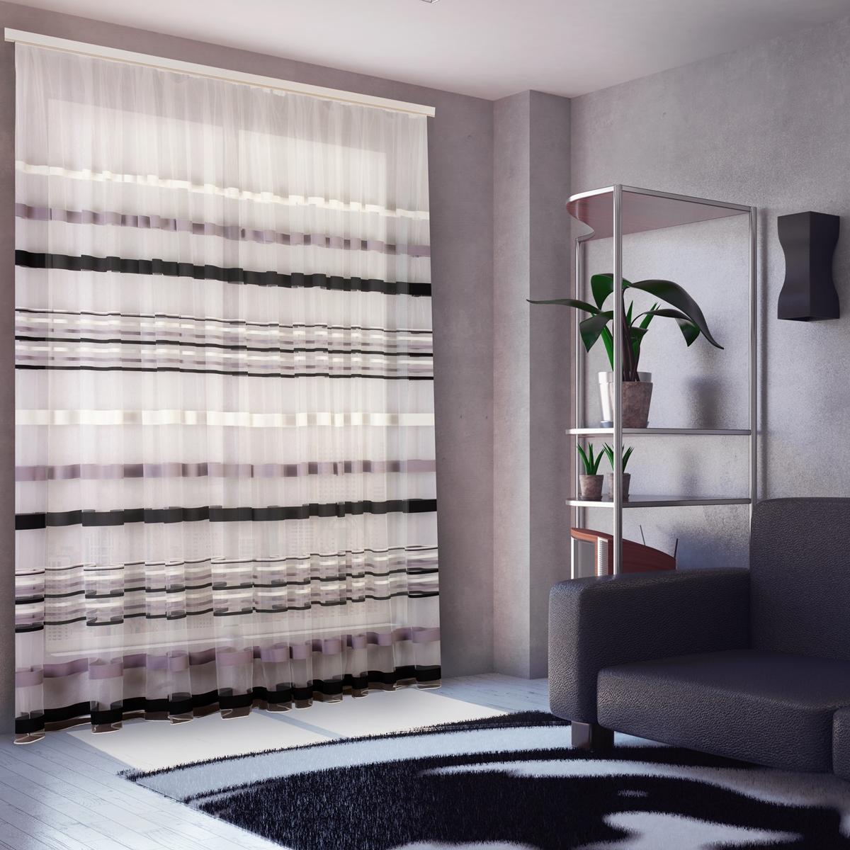 шторы из вуали в полоску