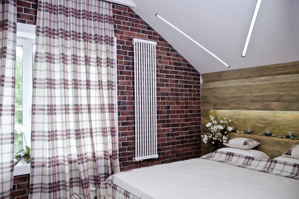 Дизайн спальни в мансарде в стиле лофта