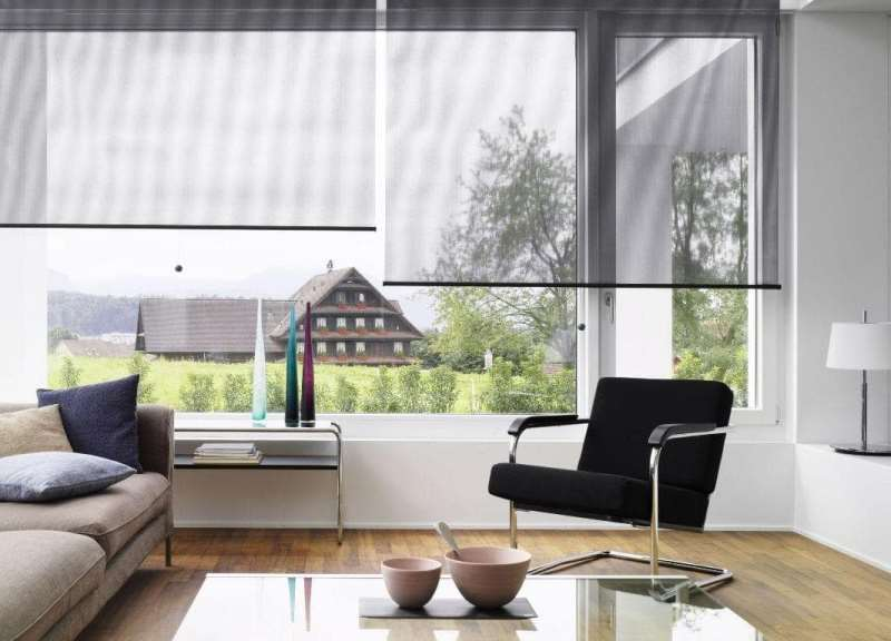 Интерьер гостиной с прозрачными шторами рулонной конструкции