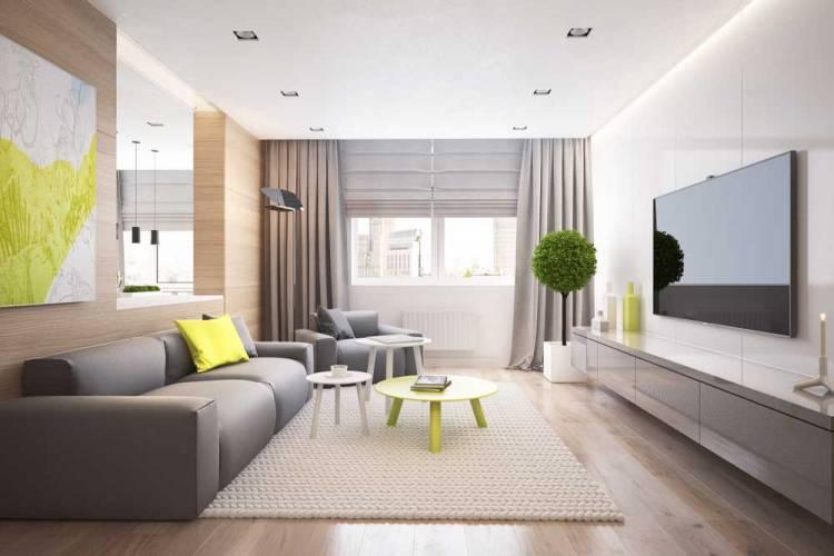 Дизайн современной гостиной с комбинированными занавесками